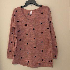LuLaRoe Pink Polka Dot Shirt Sz L